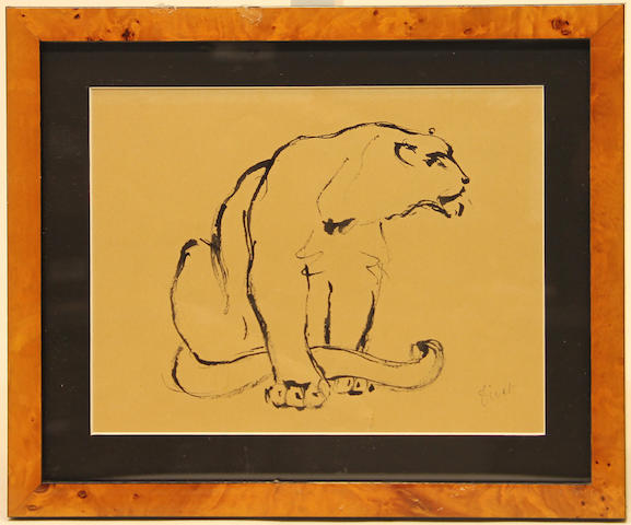 Unknown Artist Lion; Lioness (2) each, sight 7 3/4 x 10in