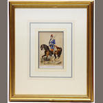 Six hand-colored prints of Soldiers on Horseback