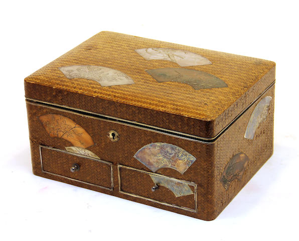 A Japanese silver mounted woven leather jewelry box early 20th century