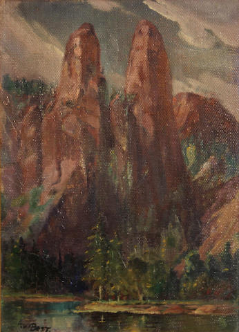 Arthur William Best (American, 1859-1935) Cathedral Spires 14 x 10in