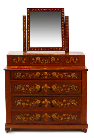 A Dutch marquetry style mirrored dresser