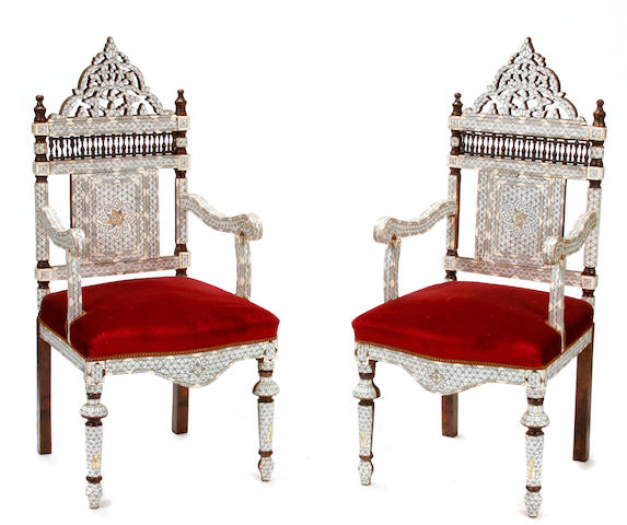 A pair of Syrian mother of pearl inlaid armchairs