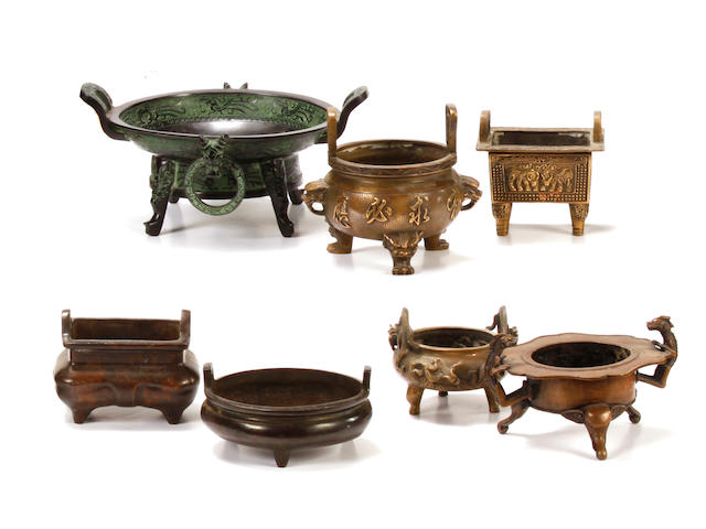 An assembled group of seven Chinese censers