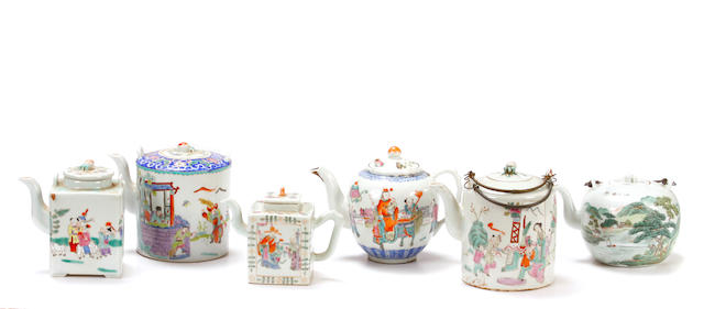 An assembeled group of six Chinese paint decorated porcelain teapots
