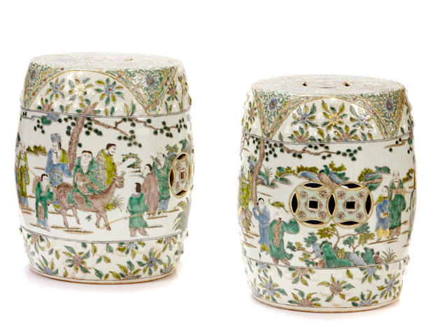A pair of Chinese famille verte garden seats