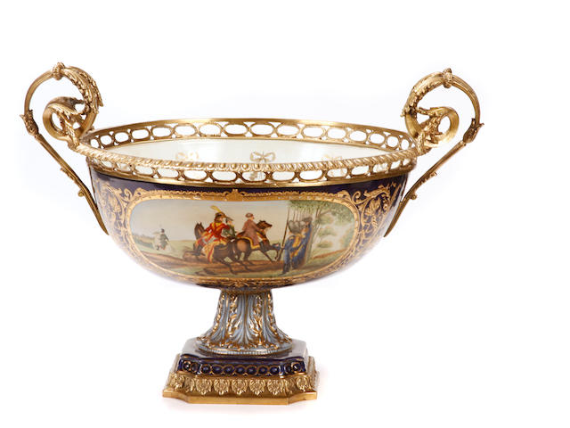 A Louis XV style gilt bronze mounted porcelain bowl