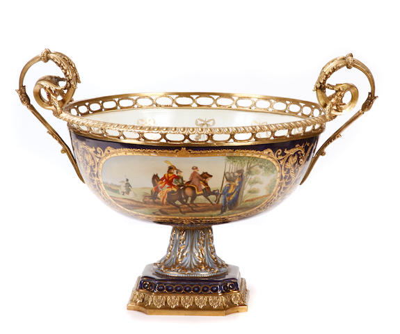 A Louis XV style gilt bronze mounted porcelain bowl