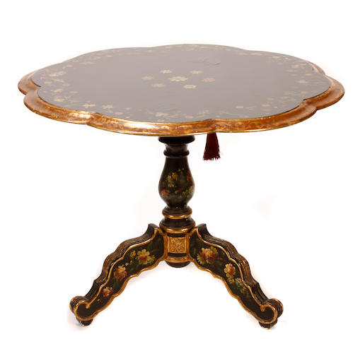 A Victorian style paint decorated center table