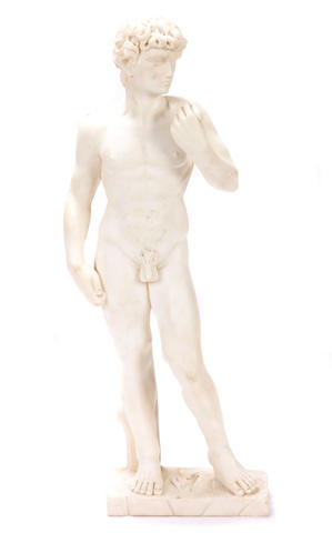 A carved marble figure of David