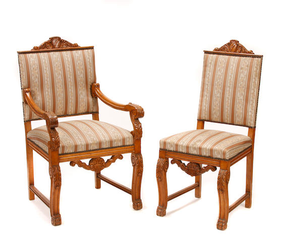 A set of ten Renaissance style dining chairs