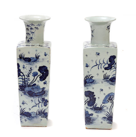 A pair of Chinese blue and white square porcelain vases