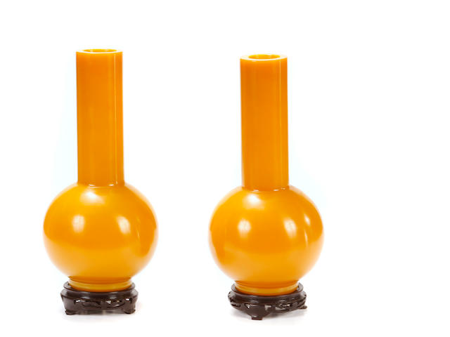 A pair of Chinese yellow Peking glass vases