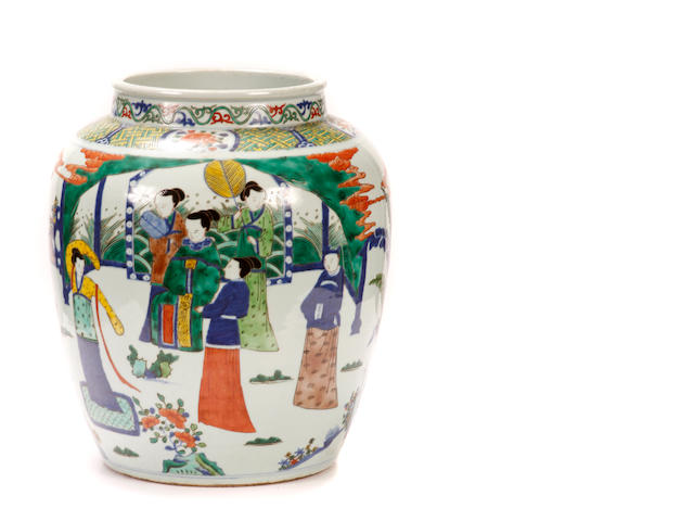 A Chinese polychrome decorated porcelain jar