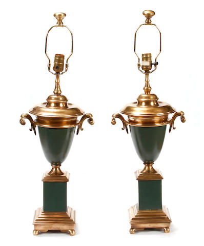 A pair of Louis XVI style tôle and chromed metal table lamps