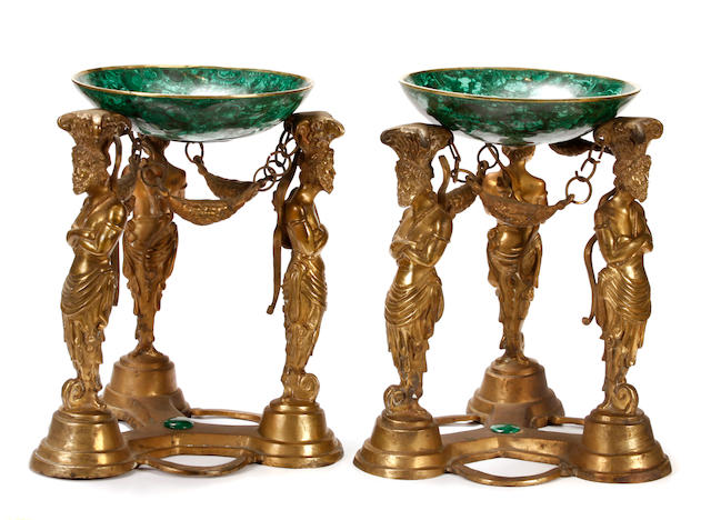 A pair of Neoclassical style gilt bronze and malachite tazza
