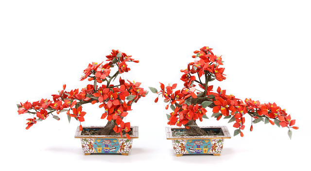 A pair of Chinese hardstone trees on cloisonné bases