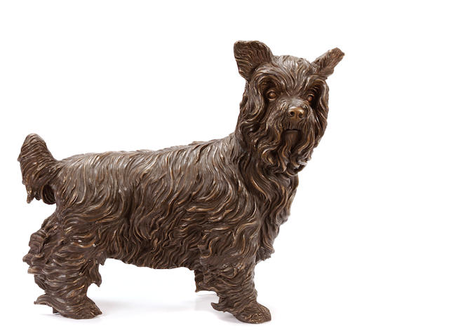 A patinated bronze figure of a terrier