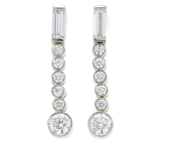 A pair of diamond earrings, Tiffany & Co.