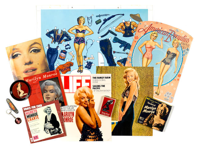 A group of Marilyn Monroe memorabilia