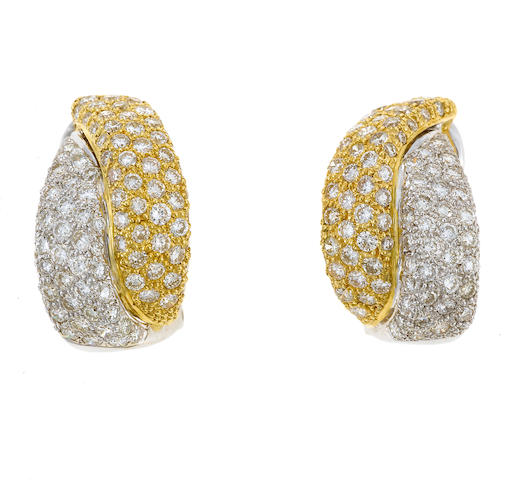 A pair of diamond earrings in 18k, est. 3.35ct total weight, 10.8g