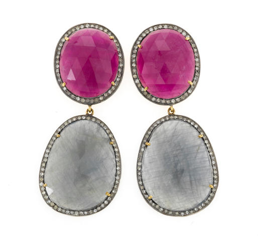 A pair of ruby, sapphire and diamond earrings