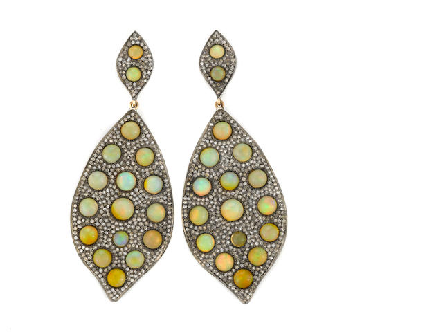 A pair of opal, diamond, silver, and 14k gold earrings, opals=12.10, etdw=3.95cts