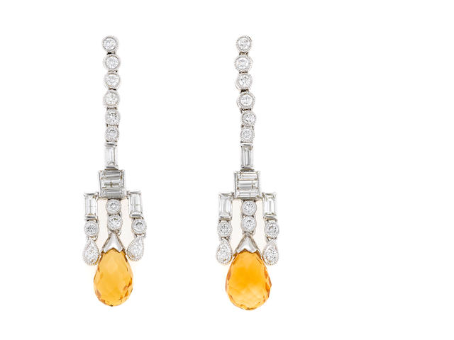 A pair of citrine and diamond earrings in 18k white gold, 7.9g