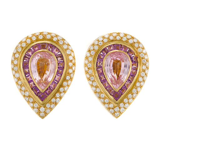 A pair of amethyst, diamond, and kunzite earrings