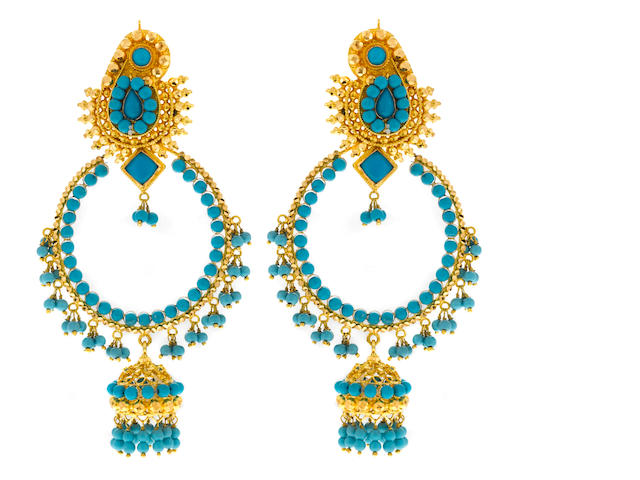 Pair of 22k gold and enamel Indian earlips