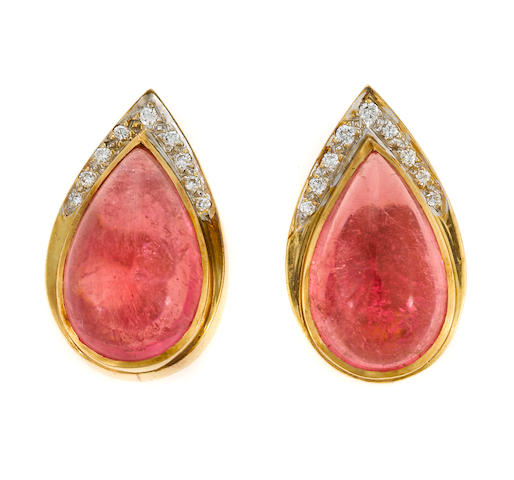 A pair of pink tourmaline and diamond earrings
