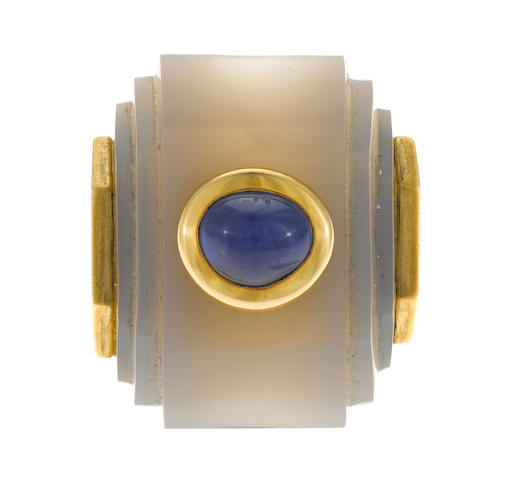 Chalcedony and sapphire ring