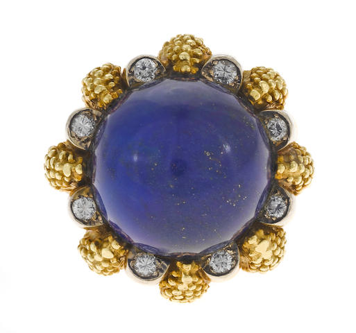 Lapis and yellow gold flower ring, Tiffany & Co.