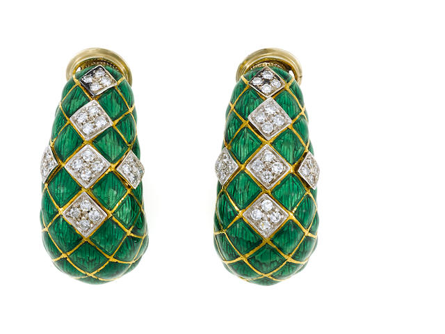 Pair of green enamel and diamond hoop earclips