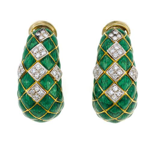 Pair of green enamel and diamond hoop earclips