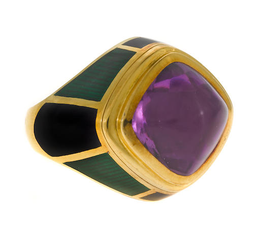 An amethyst and enamel ring, Leo de Vroomen, London,