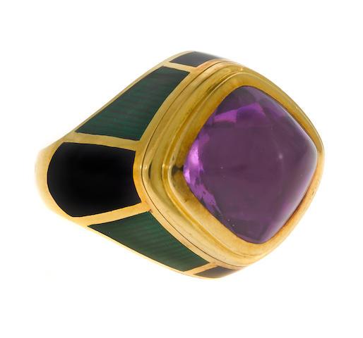 Leo de Vroomen enamel, amehtyst and gold ring