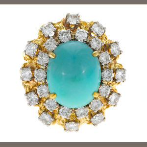 An 18k gold, diamond and turquoise ring