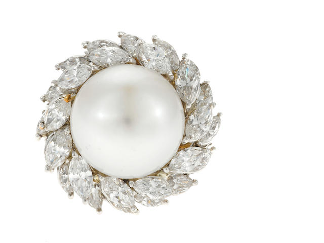 A cultured pearl, diamond and platinum cluster ring; etdw: 3.25cts