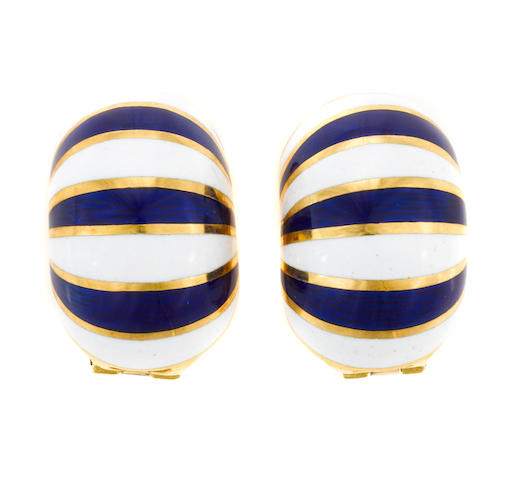 A pair of enamel and 18k gold earclips, VCA