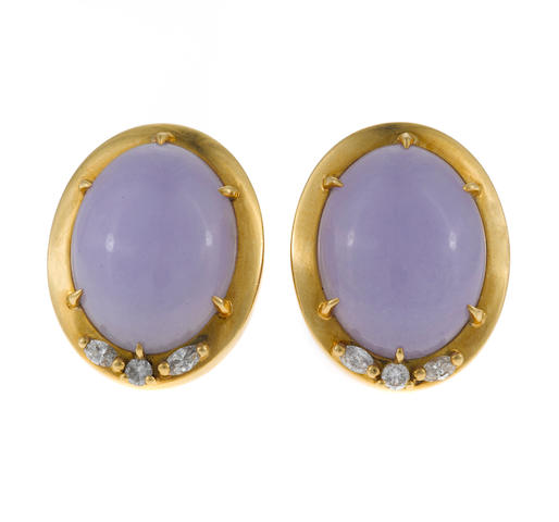 A pair of lavender jade, diamond, and gold earrings, Gumps