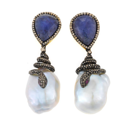 A pair of tanzanite, freshwater cultured pearl, diamond, silver, and 18k gold earrings, d=3.00cts