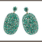 A pair of emerald, diamond, silver, and 18k gold earrings, emer: 22.25cts.