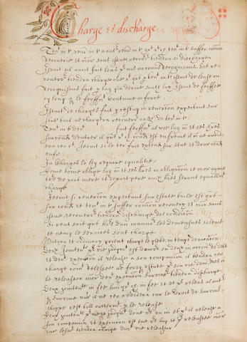 LEGAL PRECEDENTS. Manuscript dictionary of legal precedents. [England, 17th century.] In legal French, 255 leaves recto and verso, 4to,
