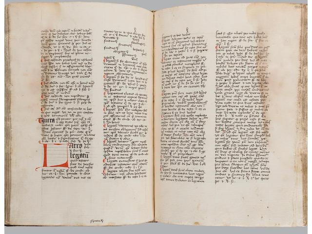 "REPETORIUM JURIS. Latin manuscript on paper, [Repertorium juris], incipit ""A Ista diction denotat separationem ut notatur...."" [Southern Low Countries, 1450s/1460s.]"
