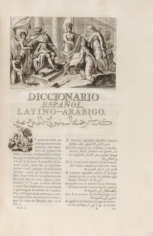 CAÑES, FRANCISCO. 1730-1795. Diccionario español latino-arabigo.... Madrid: printed by Antonio Sancha, 1787.