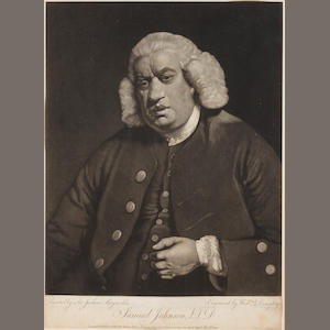JOHNSON, SAMUEL. 1709-1784. Portrait by WILLIAM DOUGHTY [1758-1782] after SIR JOSHUA REYNOLDS [1723-1792],