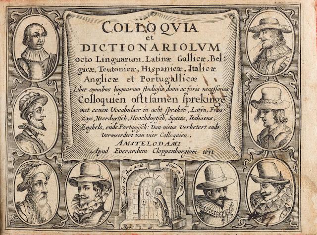 [BARLEMENT, NOEL VAN. D.1531.] Colloquia, et dictionariolum octo linguarum.... Amsterdam: Everard Cloppenburg, 1631.