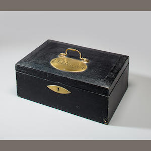 [ROGET, PETER MARK. 1779-1869.] Dr. Roget's black morocco deed box,