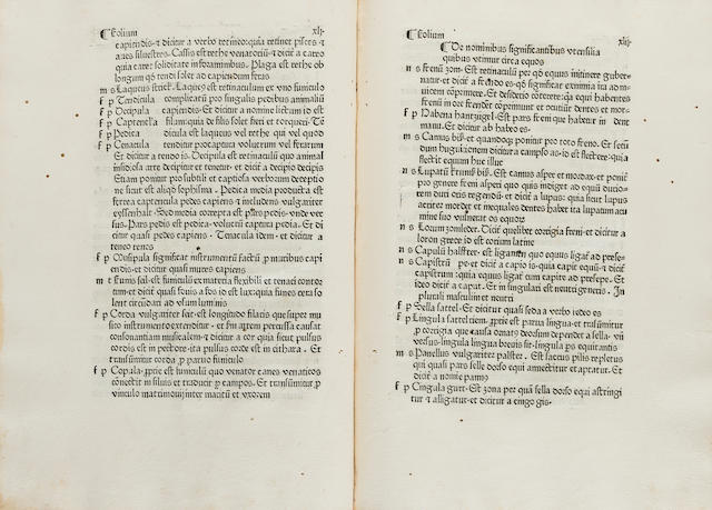 VOCABULARIUS RERUM. Vocabularius rerum latinoteutonicus. Augsburg: Johann Keller, 1478.<BR />