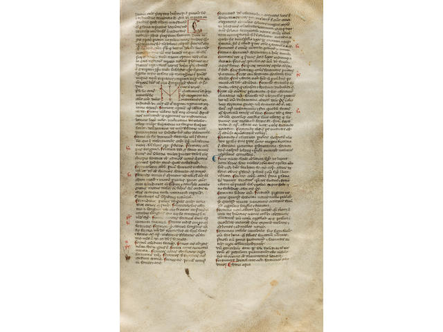 PAPIAS THE GRAMMARIAN. fl.1040s-1060s. Latin manuscript on vellum, Elementarium doctrinae rudimentum. [Northeast Italy, late 13th century.]